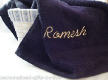 Personalised Hand Towel Black or White Towel